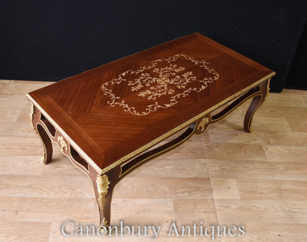 Inlay Coffee Table ~ French empire coffee table marquetry inlay tables