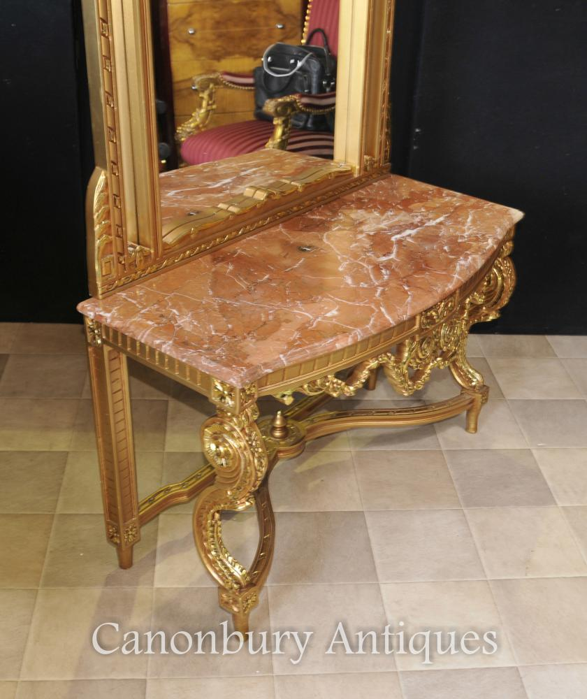 Foyer Console Table And Mirror Set : French empire gilt console table and mirror set hall