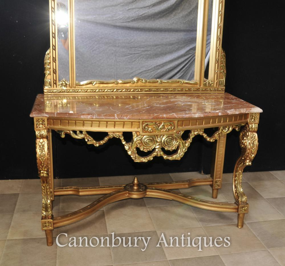 Foyer Console Table And Mirror : French empire gilt console table and mirror set hall