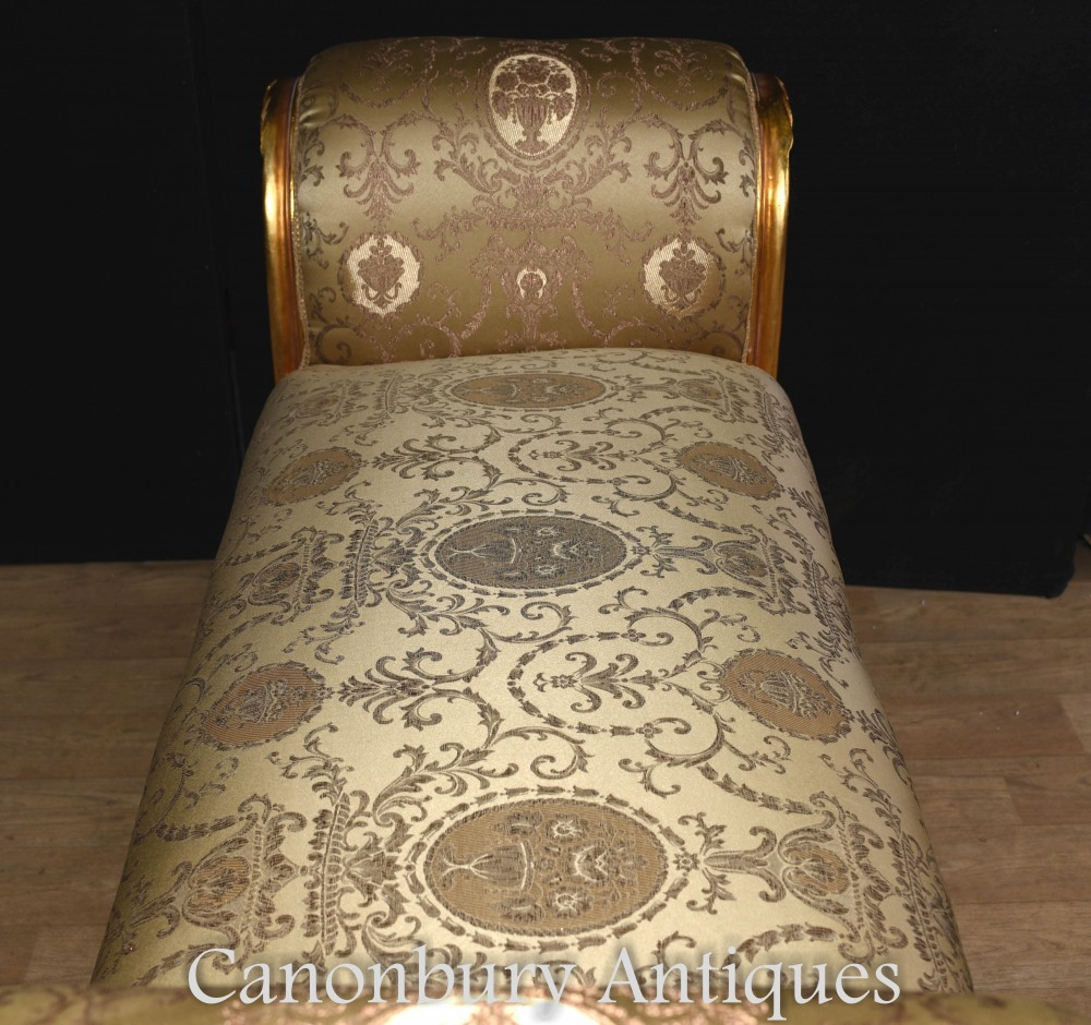 French Empire Gilt Stool Chaise Longue Couch