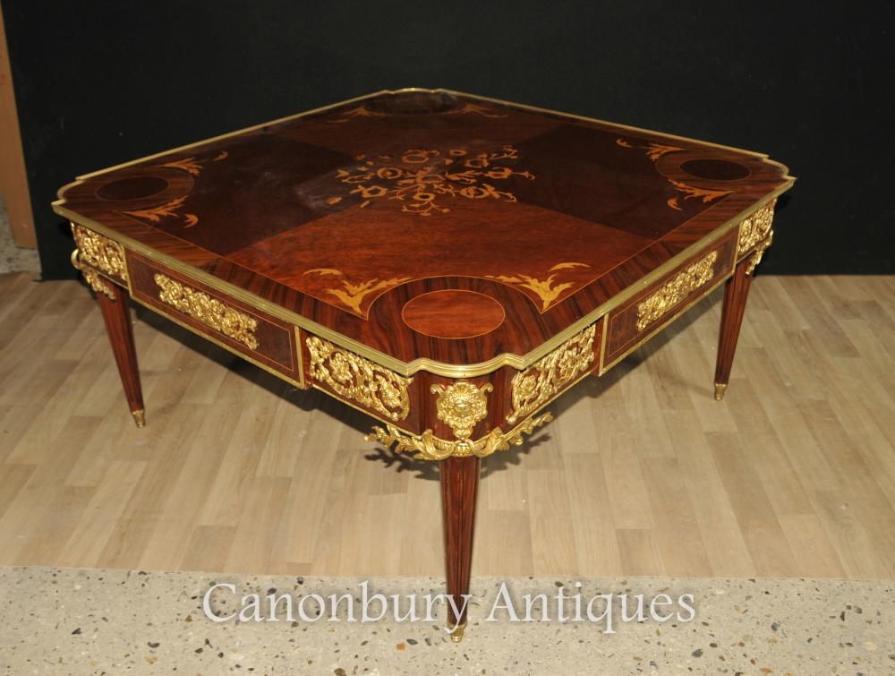 French Empire Kingwood Coffee Table Marquetry Inlay Tables Ebay