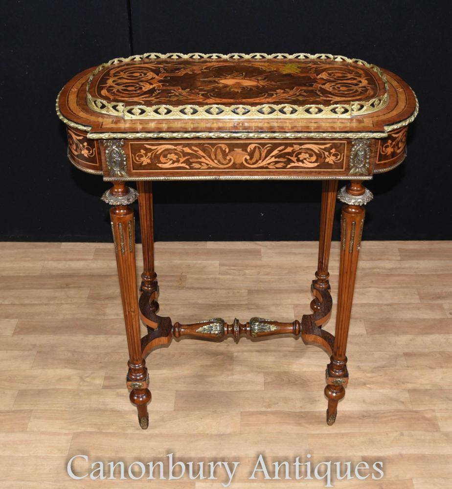 French empire marquetry inlay side table