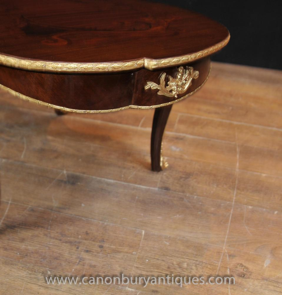 French Rococo Coffee Table: French Empire Shaped Coffee Table Rococo Marquetry Inlay