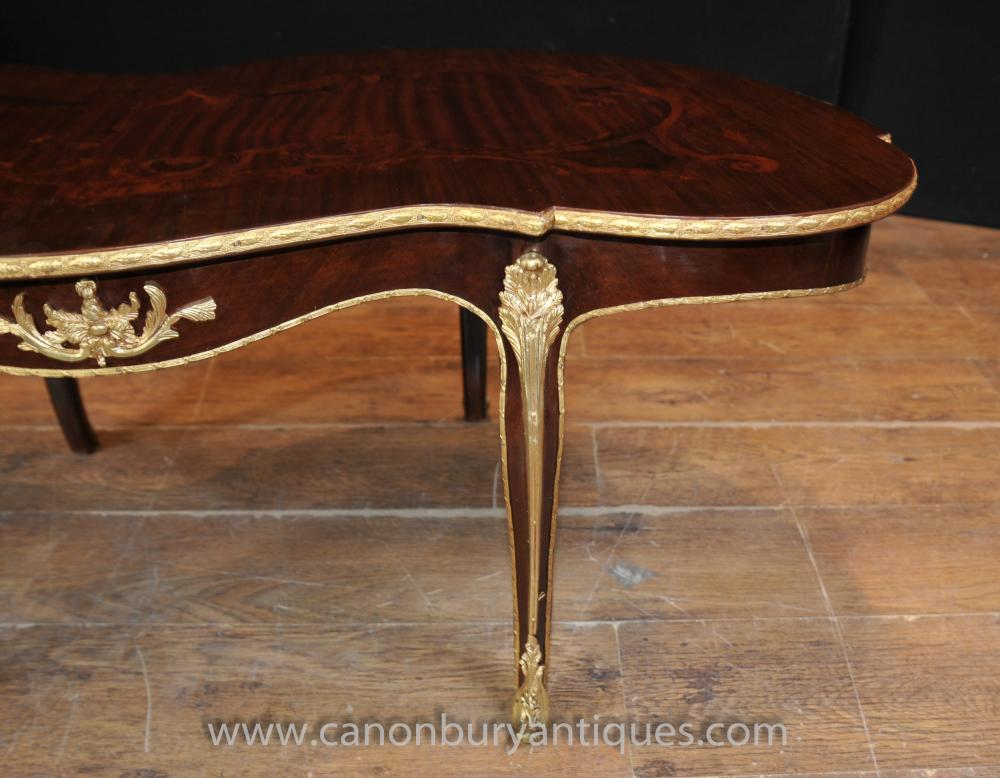 French Empire Shaped Coffee Table Rococo Marquetry Inlay