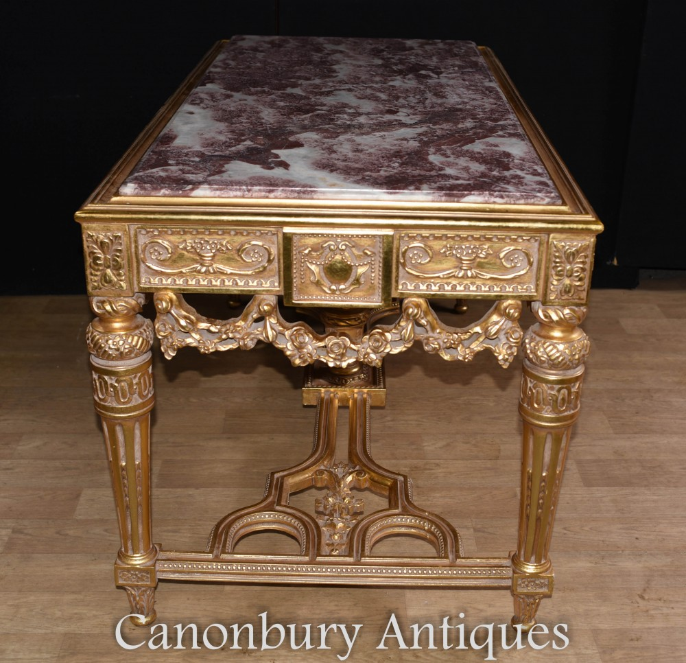 French Gilt Console Table Hand Carved Louis Xvi Hall Tables