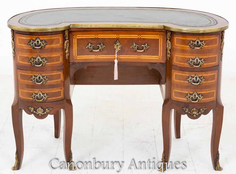French kidney bean desk ladies writing bureau in mahogany for Bureau french