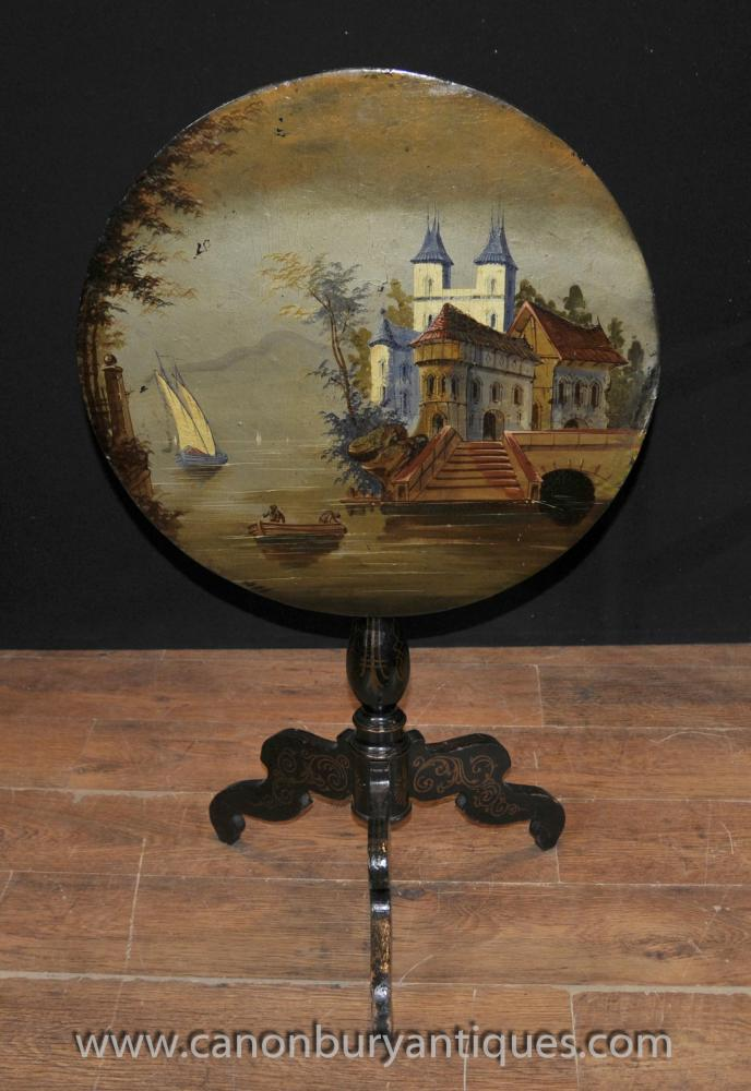 French Lacquer Antique Painted Side Table 1880 Tripod Base