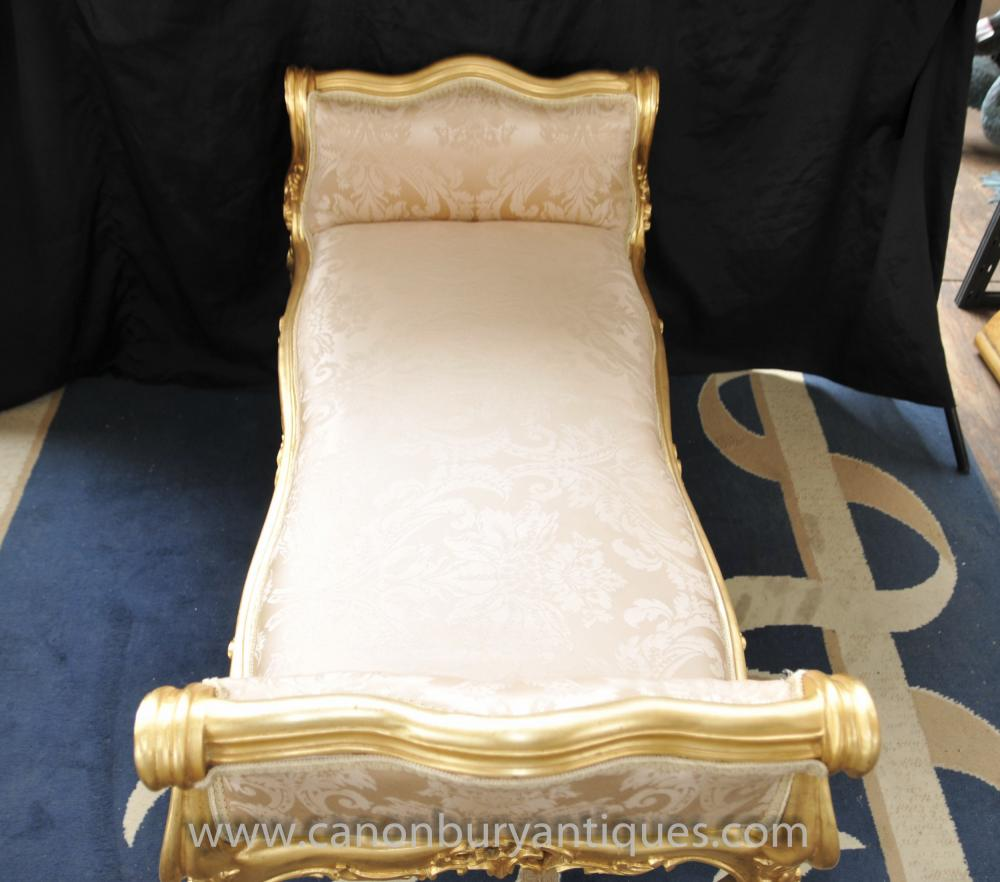 French louis xv gilt day bed sofa stool chaise longue for Chaise longue day bed