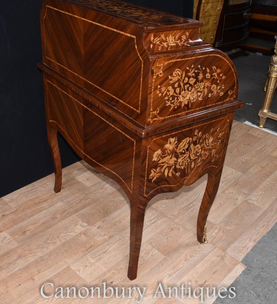Furnuture: French Louis XV Roll Top Desk Bureau Writing Table Inlay