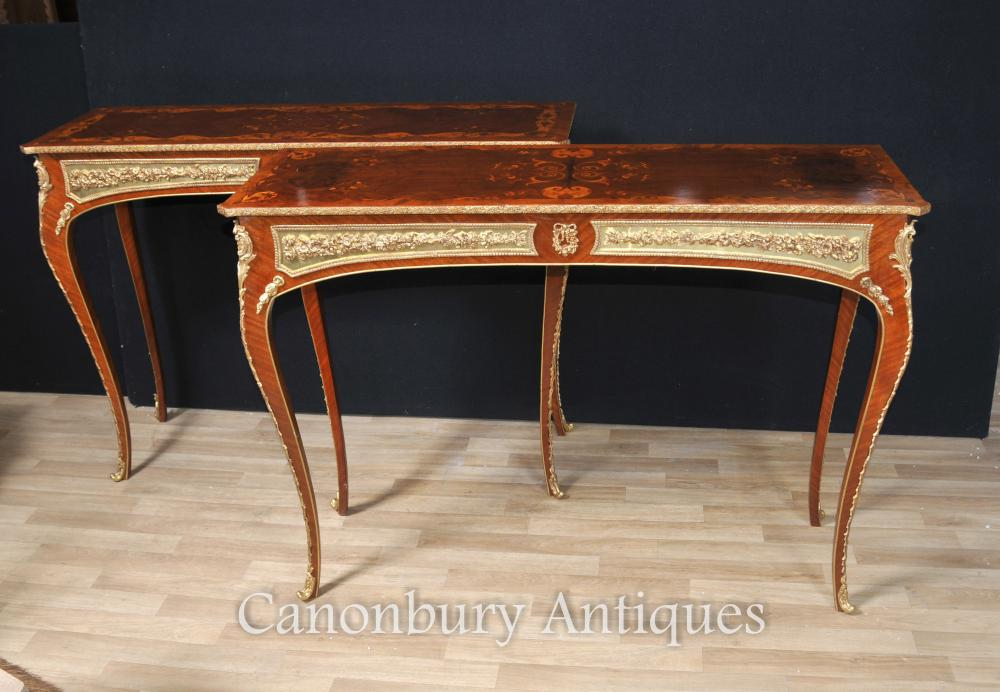 French Louis Xvi Console Tables Inlay And Gilt Mounts