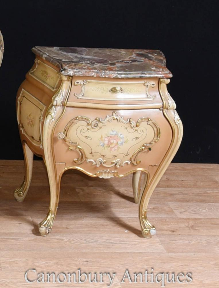 French Louis Xvi Painted Bombe Commode Bedside Chests Set