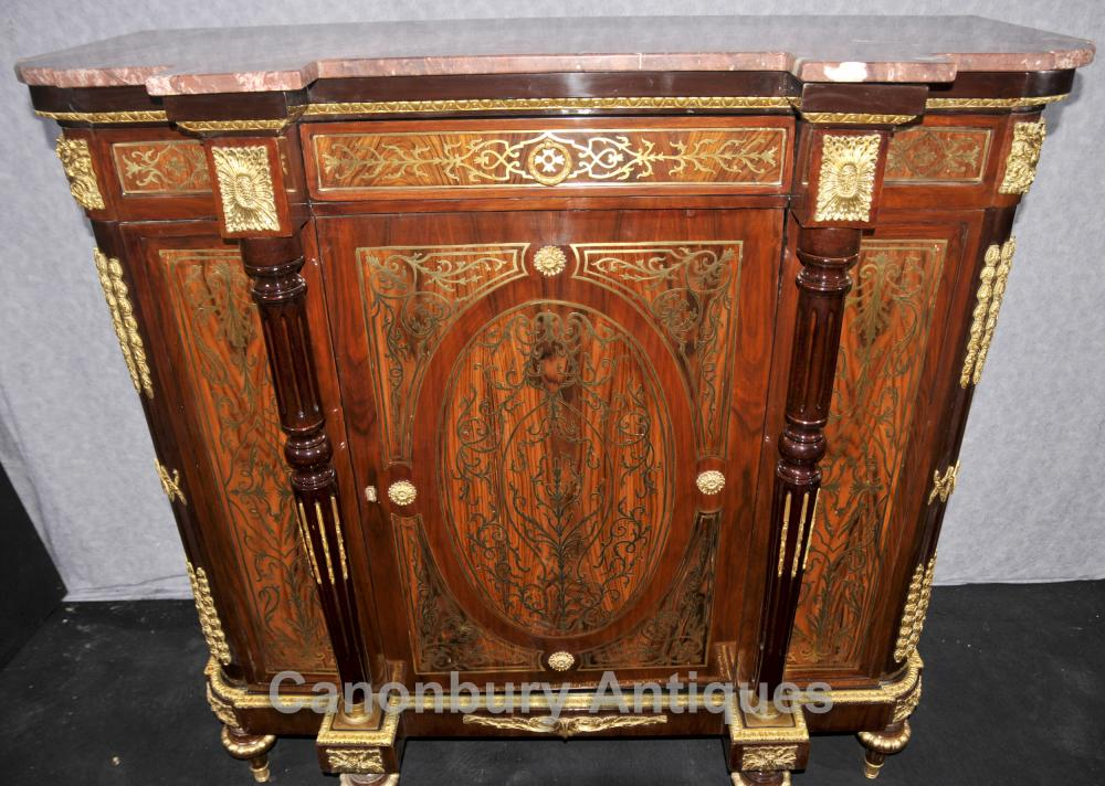 French Red Boulle Sideboard Cabinet Buhl Marquetry Server