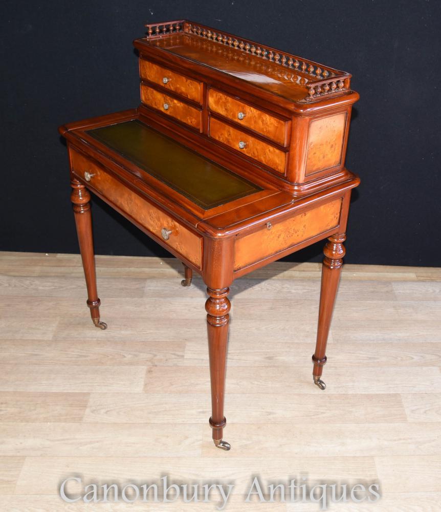 French regency bureau de dame writing desk burr walnut for Bureau writing desk