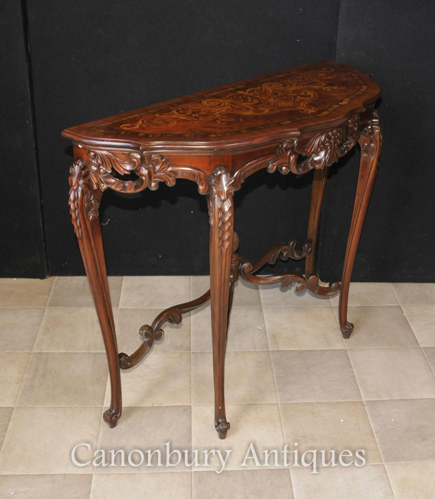 French regency demi lune console table marquetry inlay ebay for Table cuisine demi lune
