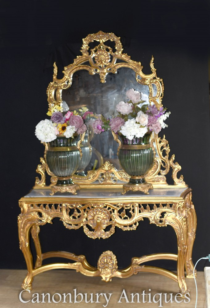 French Rococo Gilt Mirror And Table Set Louis Xvi Console