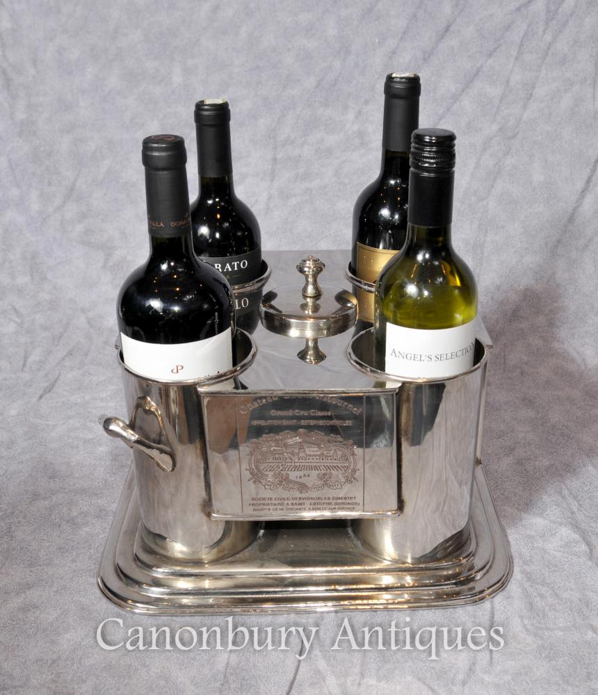 French Silver Plate Wine Cooler Bucket Champagne