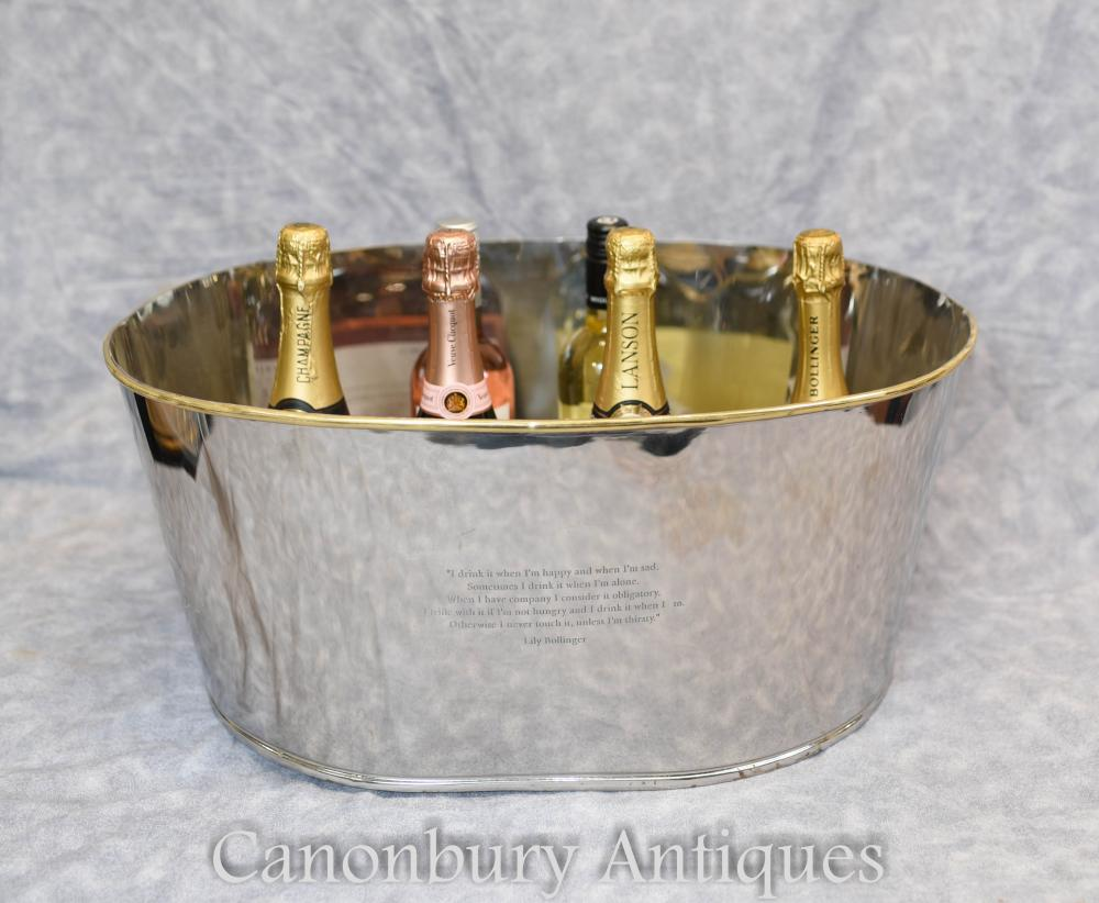 French Silver Plate Ice Bucket Champagne Cooler Bollinger