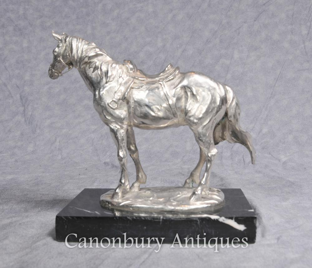 French Silver Plated Bronze Horse Statue by Milo Horses