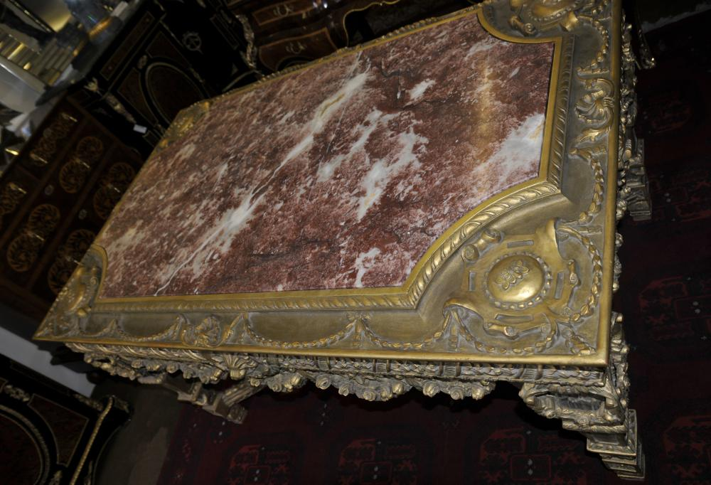 George ii gilt console table hand carved base marble top