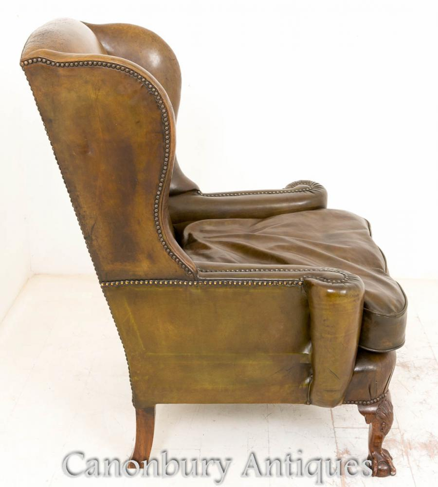 Georgian Wingback Leather Arm Chair Wing Chairs