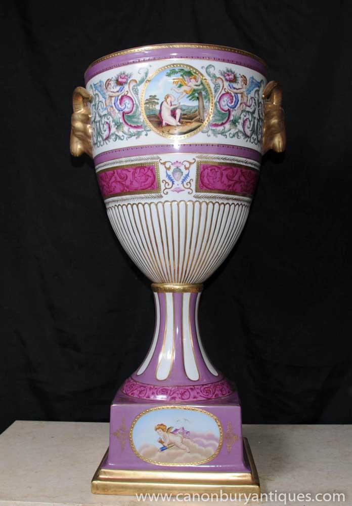 German Dresden Porcelain Urn Vase Rams Head Handles