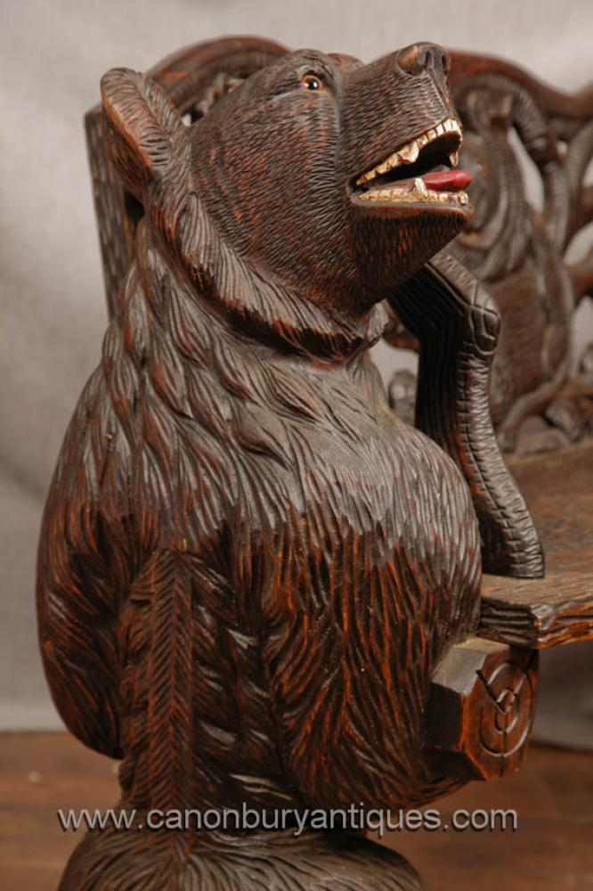 German Black Forest Hand Carved Bear Bench Seat