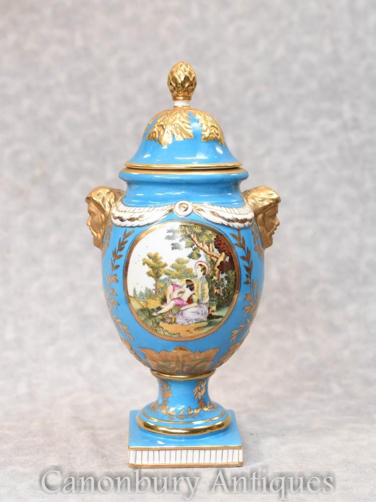 German Porcelain Lidded Urn Dresden Vase