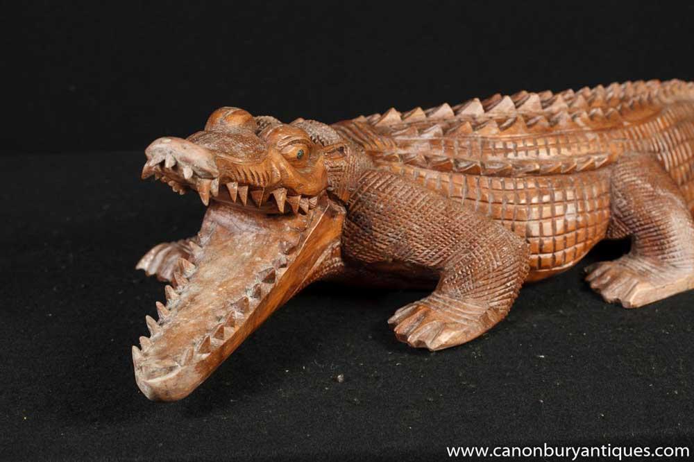 Hand carved alligator bat