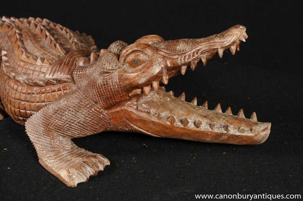 hand carved crocodile alligator statue. Black Bedroom Furniture Sets. Home Design Ideas