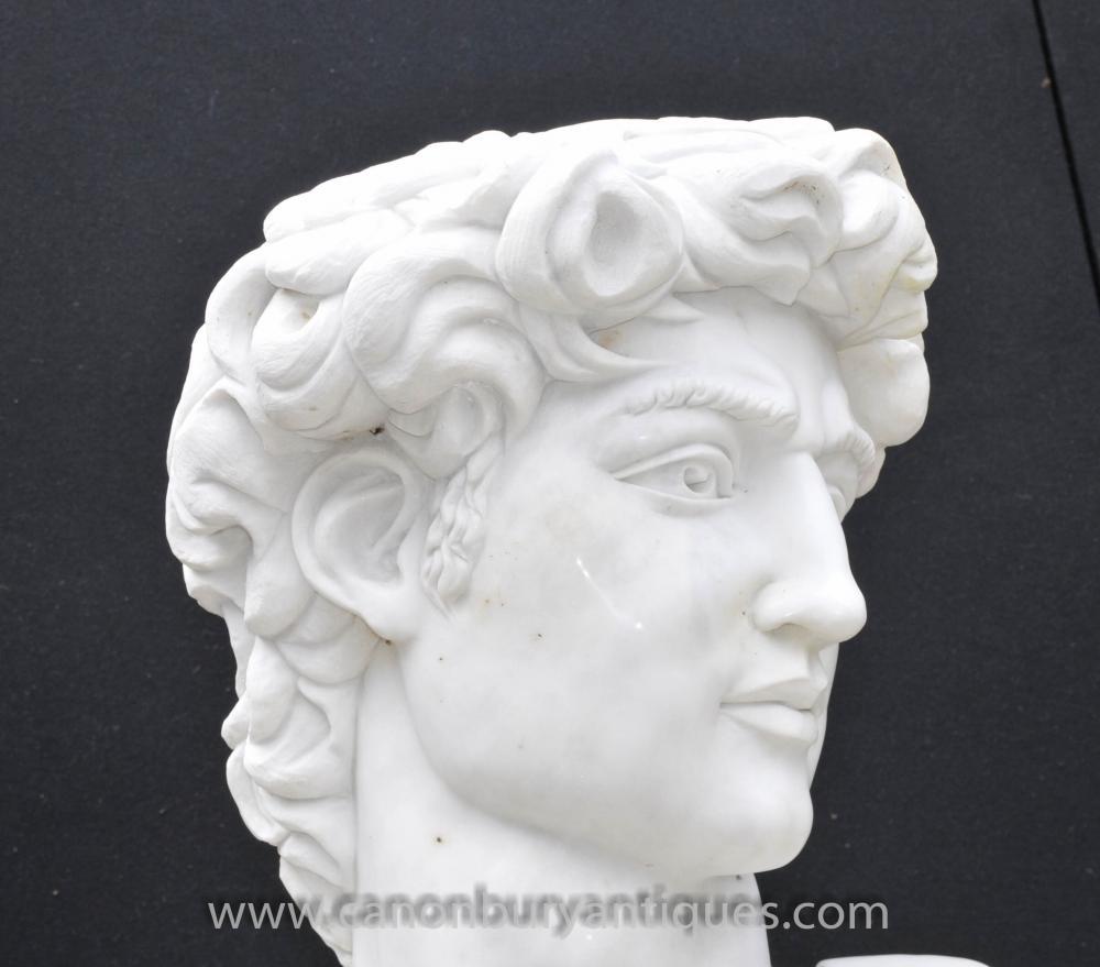 Hand Carved Italian Marble Bust Apollo Delphi Greek God Myth