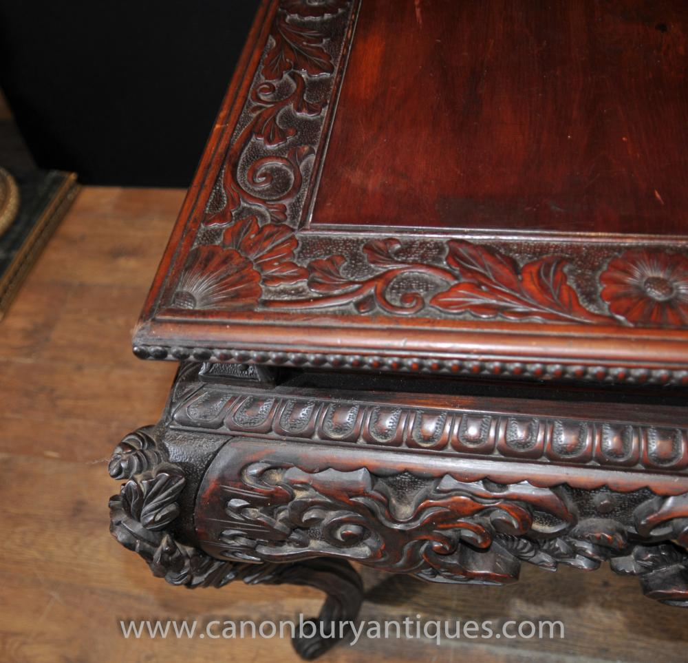 Hand Carved Antique Chinese Mahogany Coffee Table Side Tables