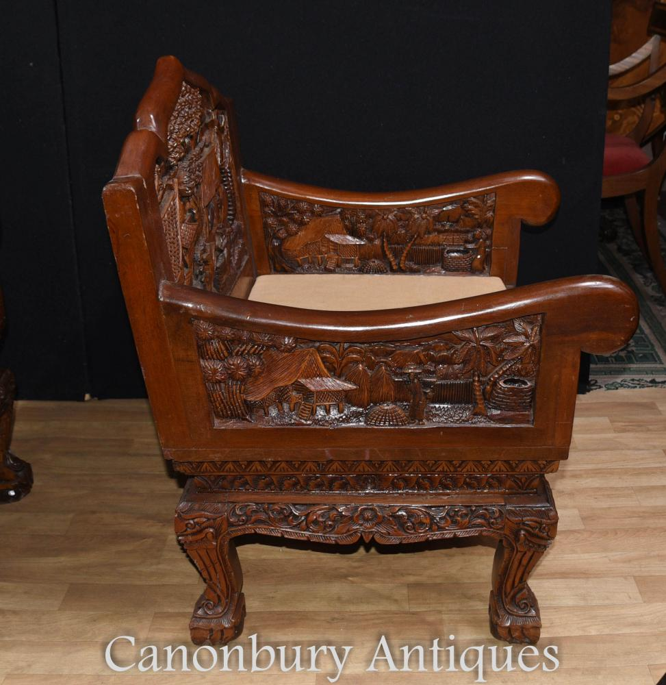 Hand Carved Chinese Hardwood Chairs And Coffee Table Set