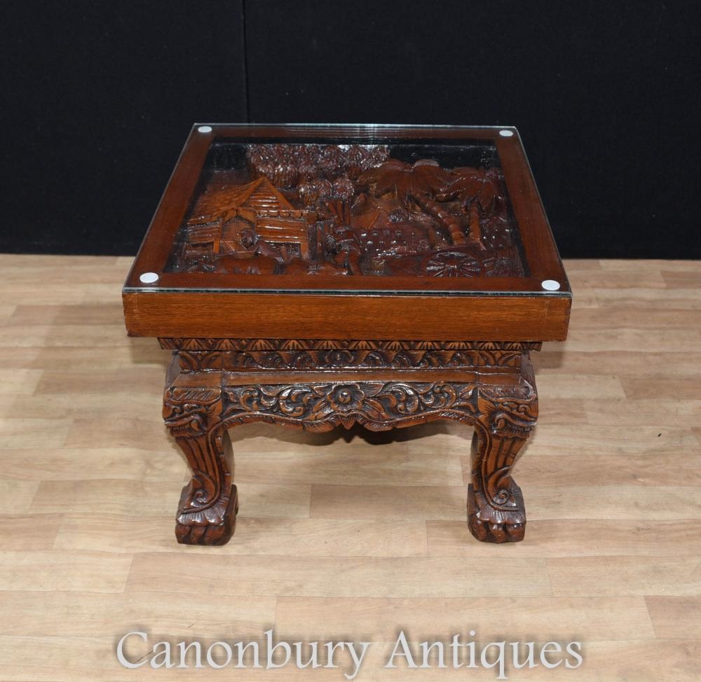Hand carved chinese hardwood chairs and coffee table set for Hand carved asian furniture