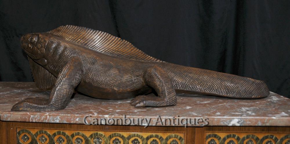 Hand Carved Komodo Dragon Statue Reptile Wood Animal