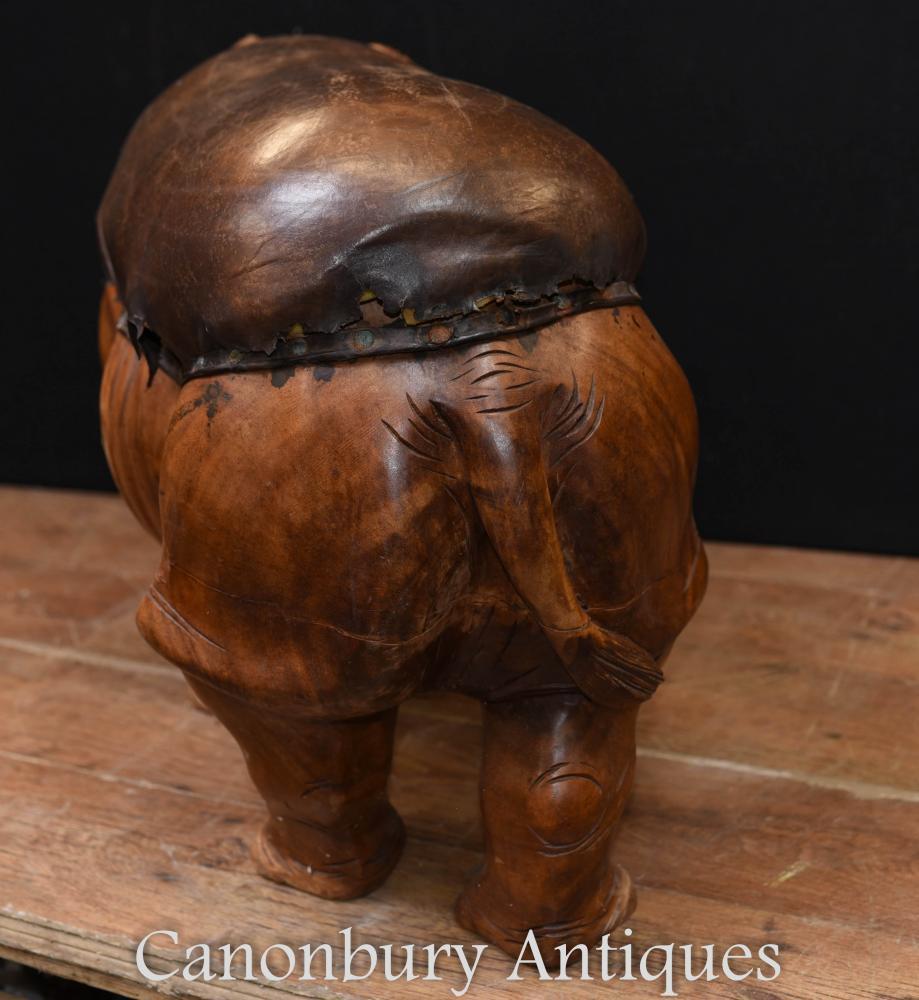 Hand Carved Rhino Foot Stool Ottoman Rhinoceros Interiors