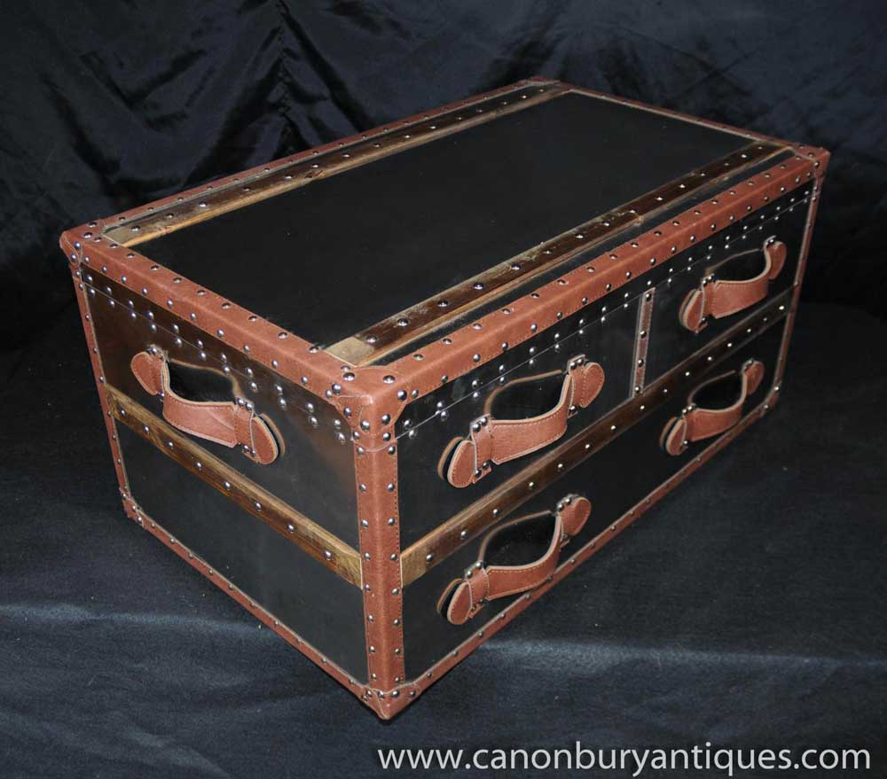 Coffee Table Chest Drawers: Industrial Chrome Chest Drawers Coffee Table Leather