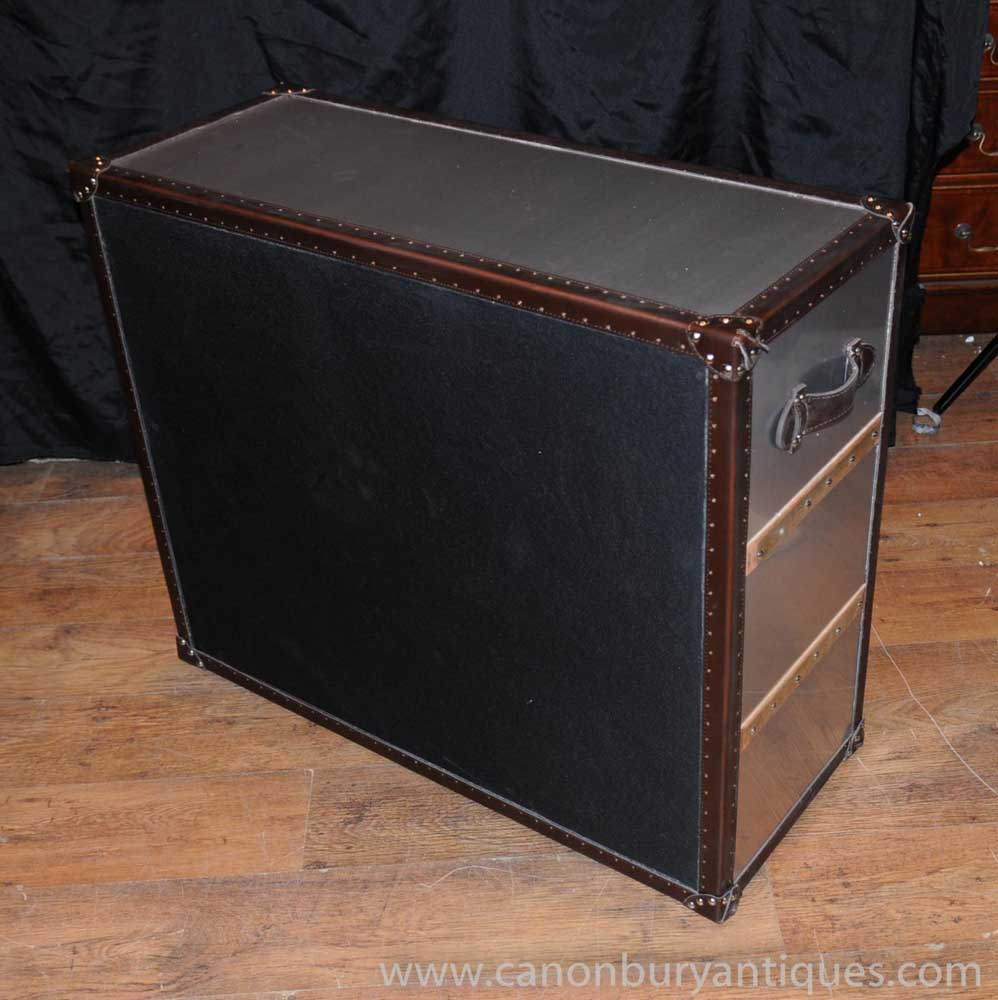 Industrial Leather Metal Chest Drawers Vintage Deco Chests