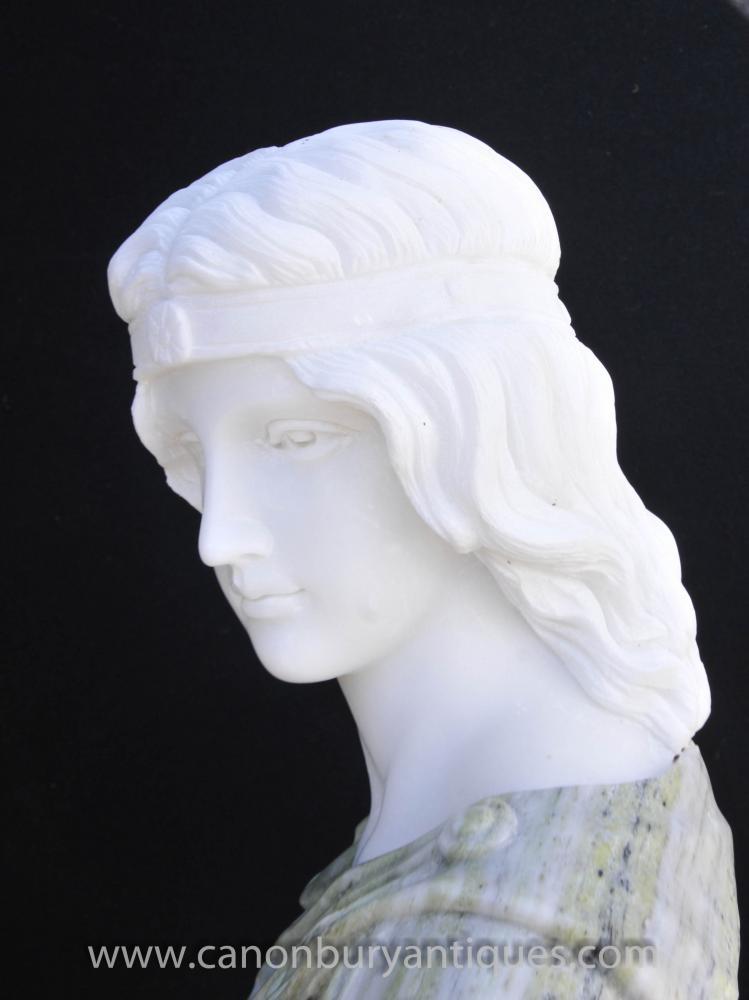 Italian Marble Bust Greek Goddess Athena Stone Carved Statue