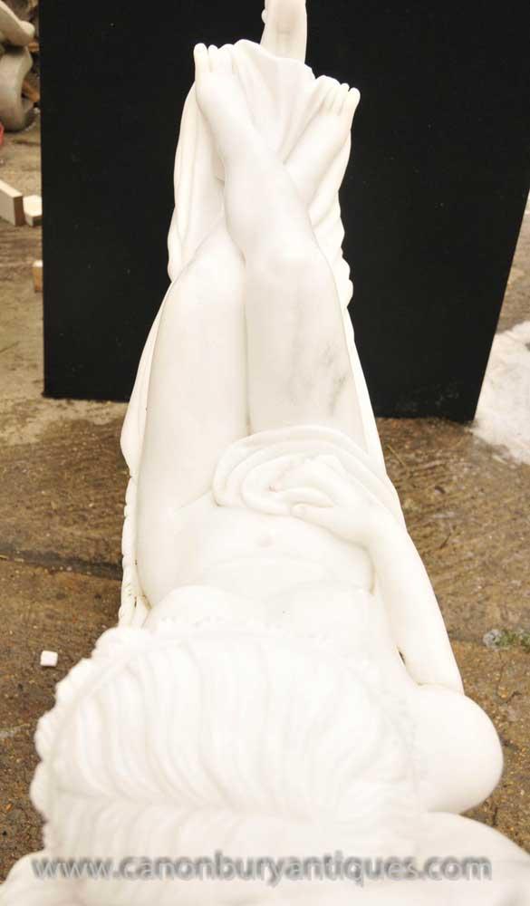 Italian Marble Statue Sleeping Beauty By Antonio Frilli -7010