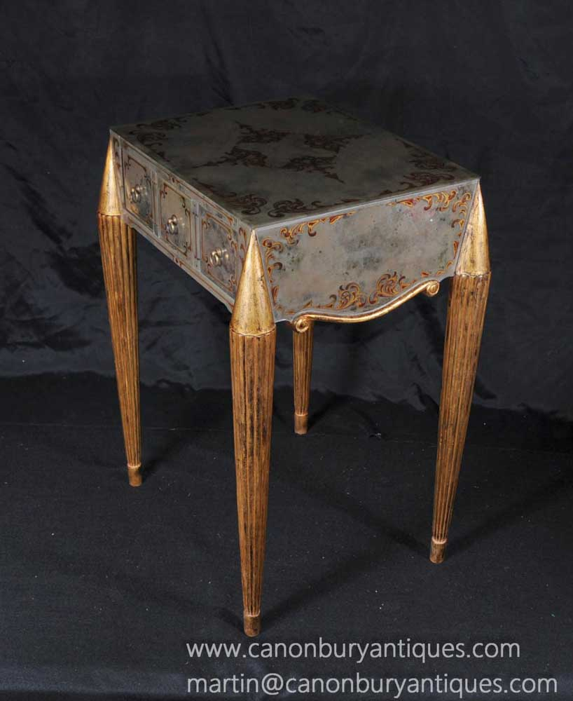 Occasional Tables: Italian Venetian Mirrored Glass Side Table Occasional Tables