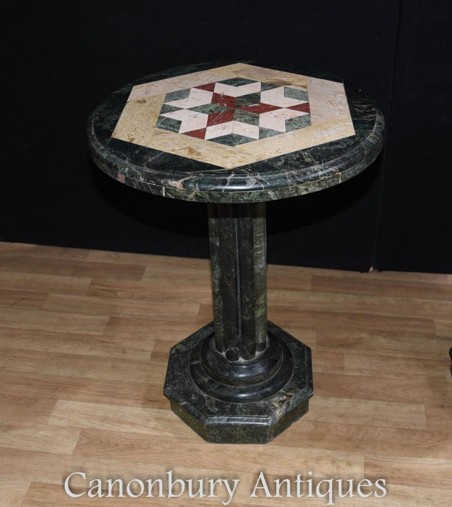Florentine Marble And Brass Round Cocktail Coffee Table At: Italian Tuscan Marble Round Side Table Inlay Cocktail Tables