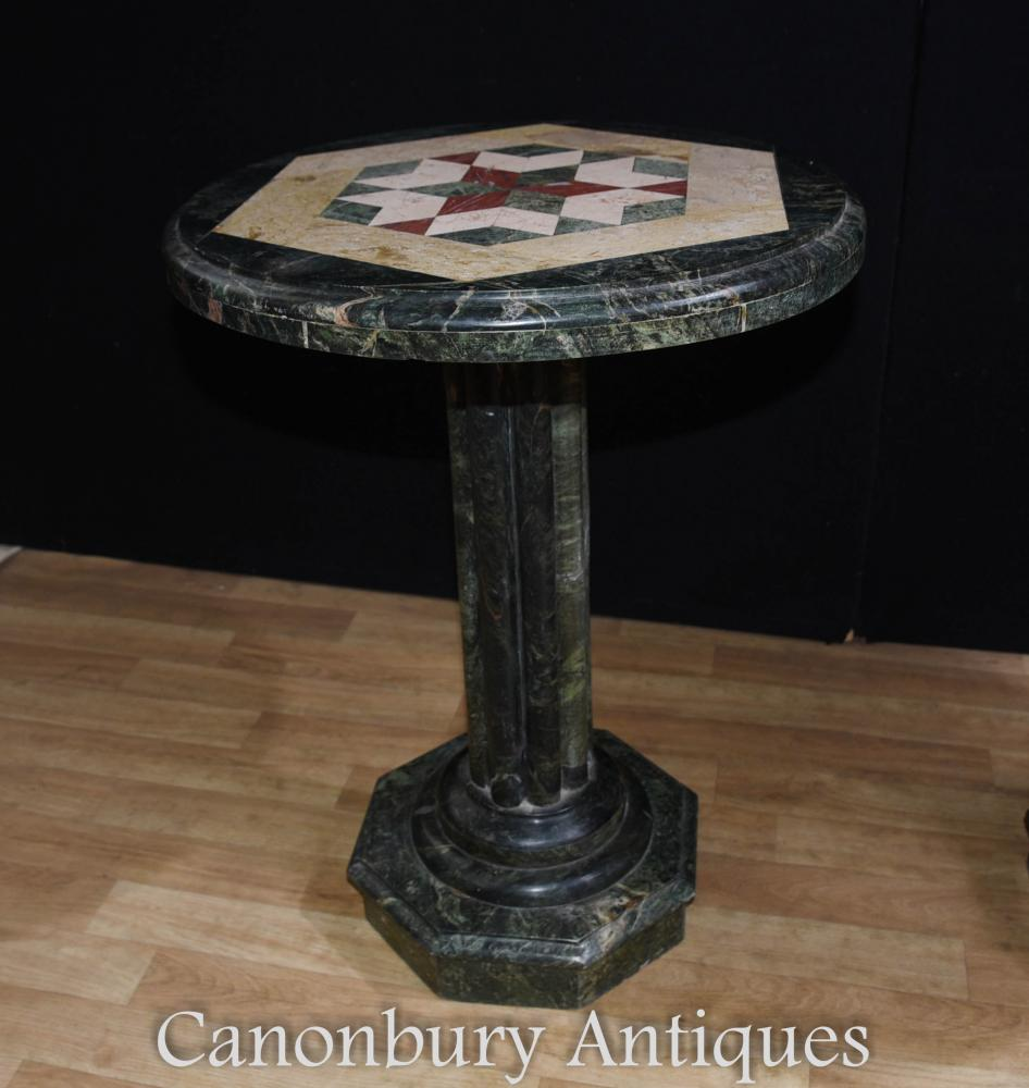 Italian tuscan marble round side table inlay cocktail tables for Round marble side table