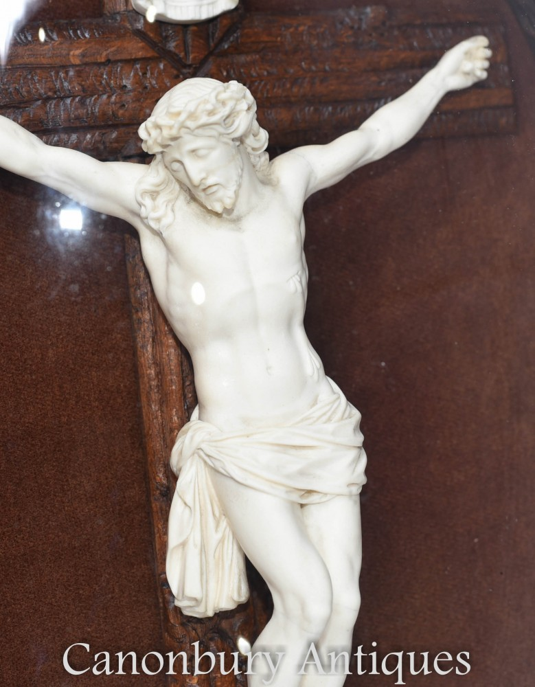 Jesus Christ Crucifixion Cross Statue Hand Carved