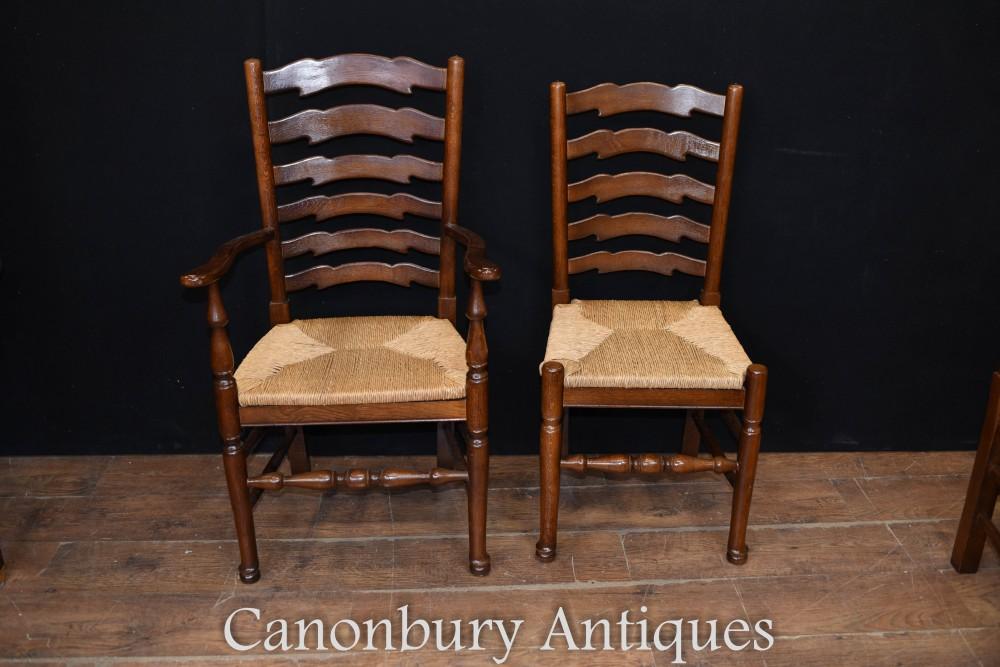 Ladderback Chairs Set 8 Oak Kichen Dining Chairs