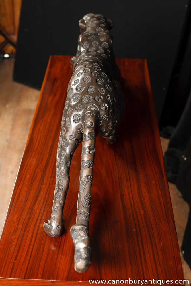 Large Art Deco Bronze Cheetah Cat Statue Sculpture