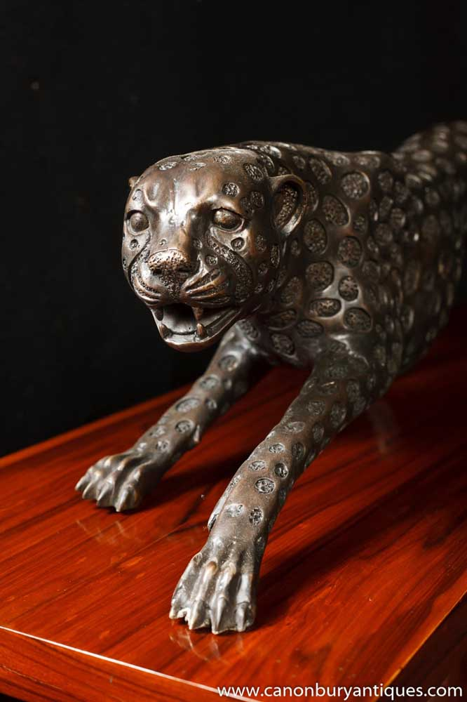 Large Art Deco Bronze Cheetah Cat Statue Sculpture