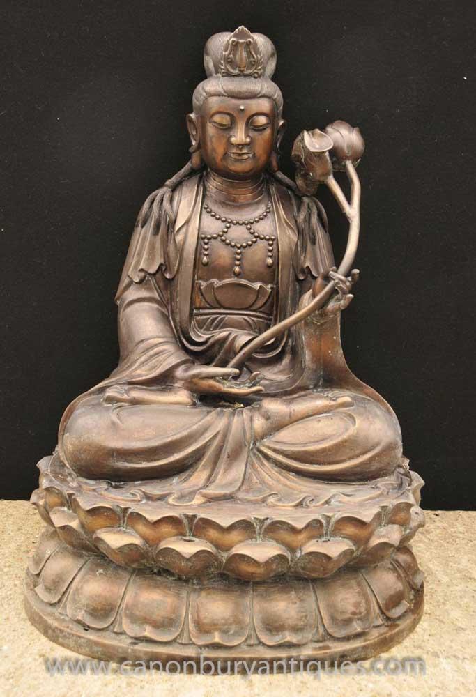 Large Bronze Buddha Statue Lotus Flower Sculpture Buddhism Burmese