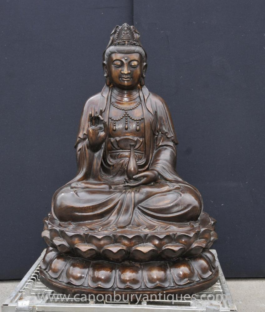 Large Bronze Burmese Buddha Statue Lotus Figurine Buddhist