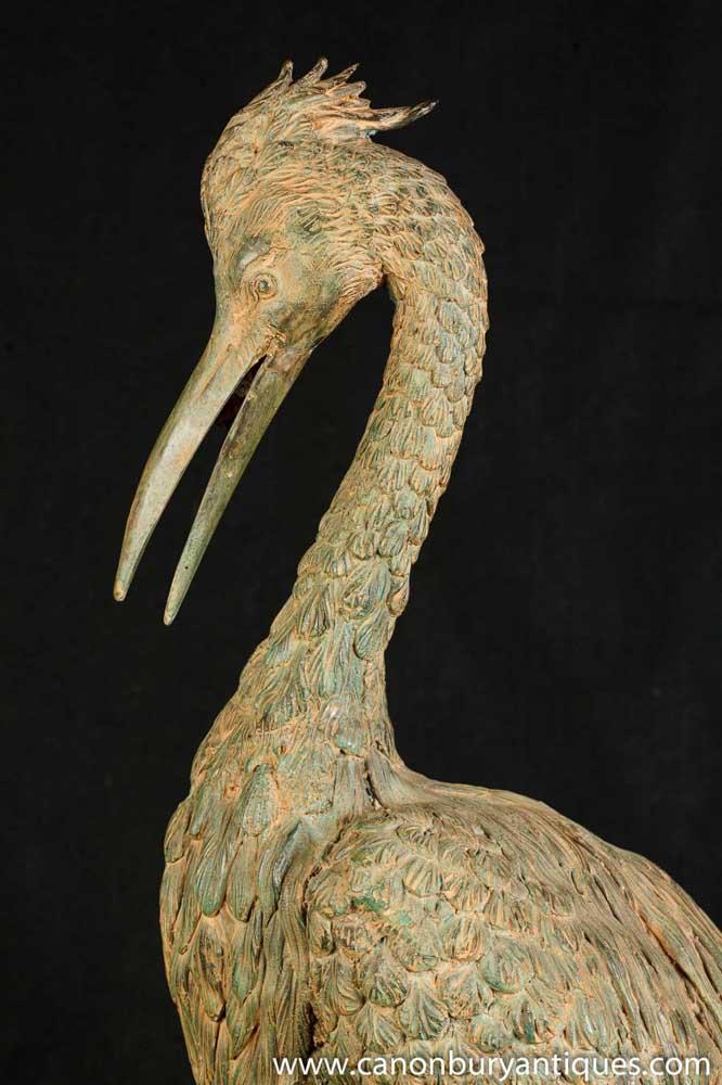 Large Bronze Japanese Stork Statue Birds Garden Art