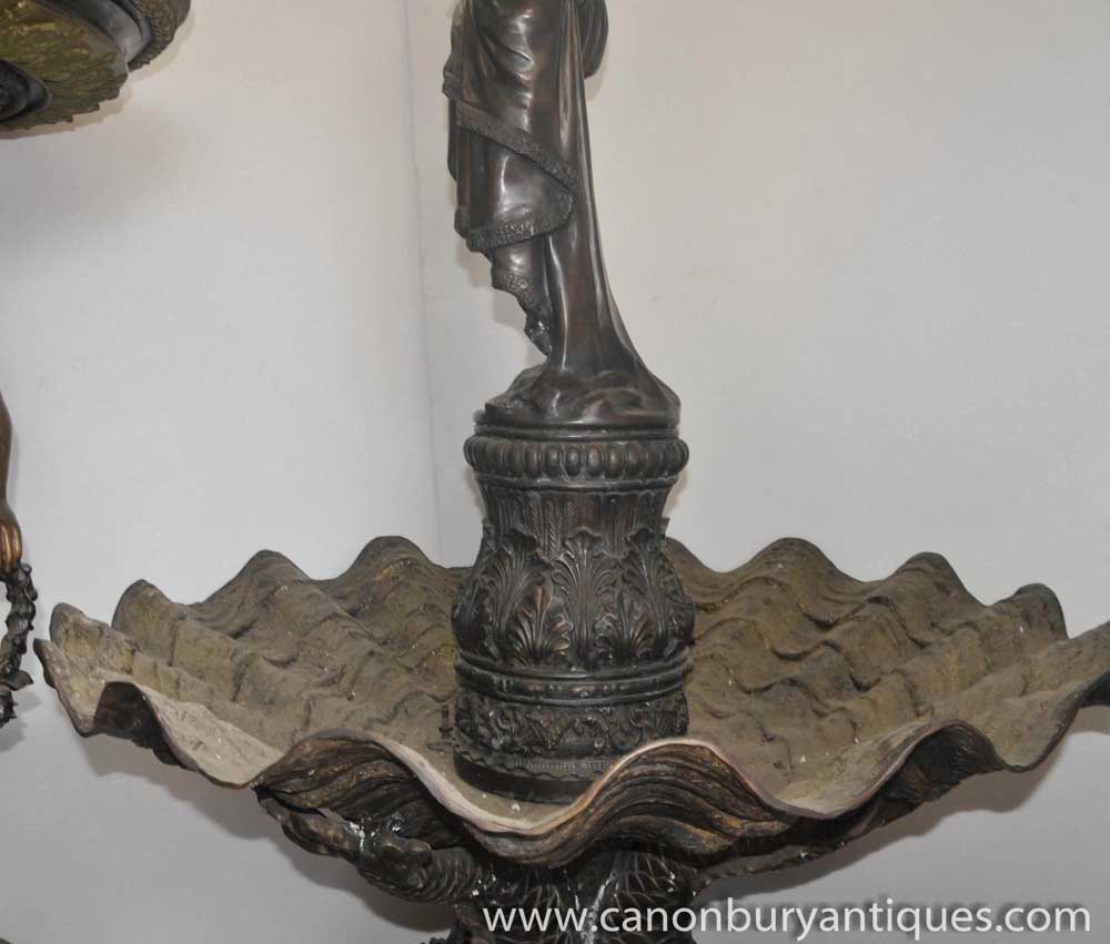 Large Classic Italian Bronze Fountain Maiden Serpent Water